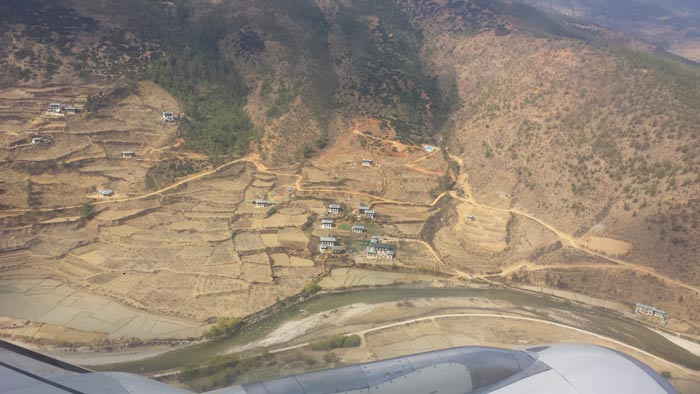 Our first views of the Paro Valley on the flight into Bhutan.