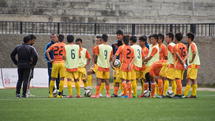 Our friend and host, Hishey Tsering, is many things. When not leading birding tours he manages the Bhutan National Football Team. Here he address the team before a historic match against Sri Lanka.