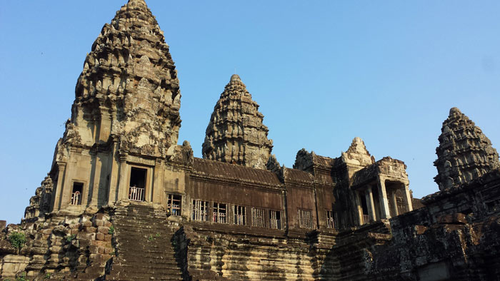 Angkor Wat, from the inner courtyard. Photo Aaron Lang.