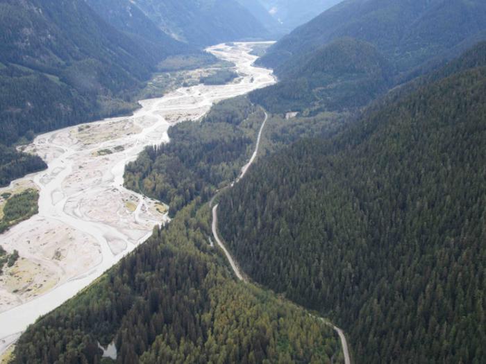 An aerial view of the Salmon River near Hyder, Alaska. Photo Steve Heinl.