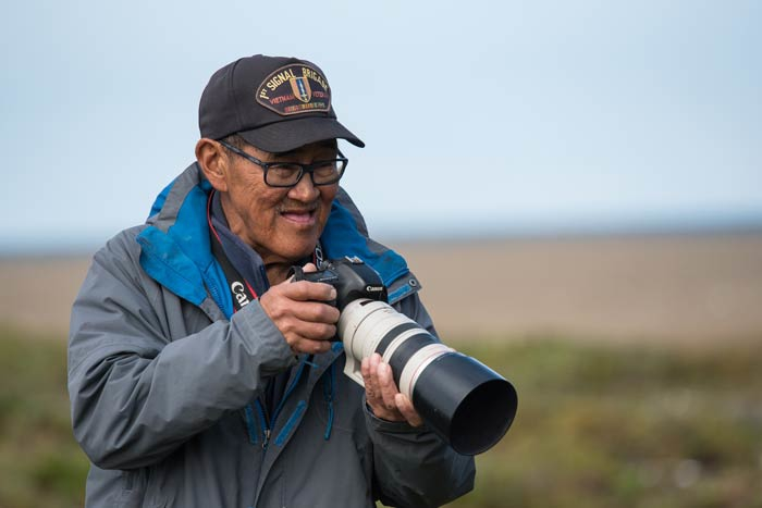 The famous bird man of Gambell, Clarence Irigoo. All visiting birders owe a large debt of gratitude to Clarence for the many great birds he's found and help to document over the years.